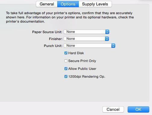 OSX El Captian with Konica-Minolta bizhub C454e not printing when